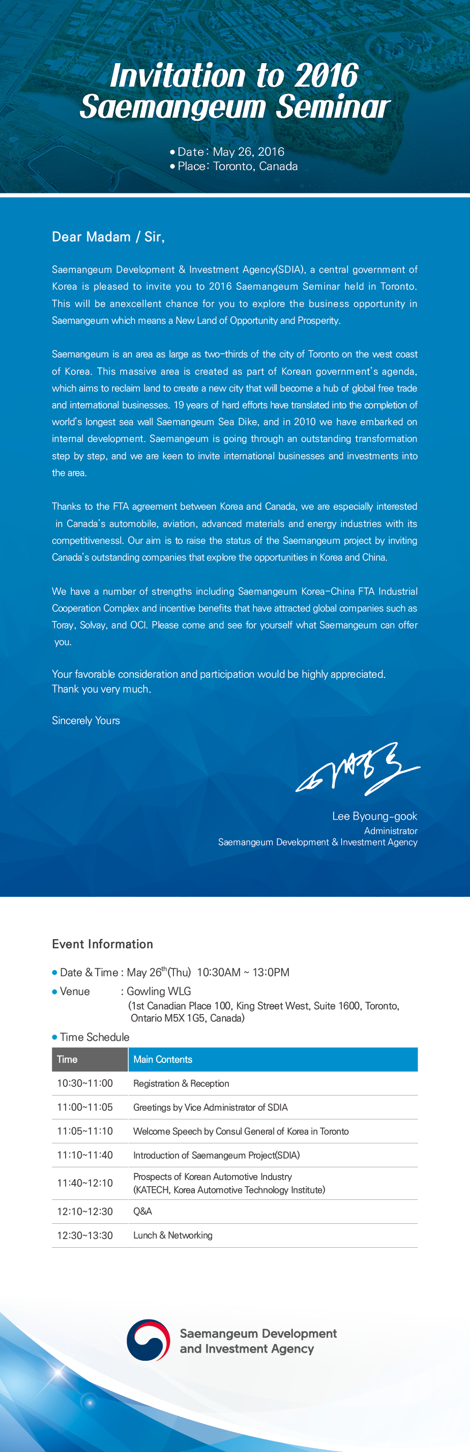 Invitation - Saemangeum Korea Seminar - Toronto Canada